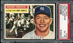 1956 Topps Mickey Mantle #135 HOF Yankees (Gray Back) PSA 6 EX-MT Centered