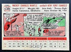 1956 Topps Mickey Mantle #135 Vg-ex+ Great Color And Decent Centering Hof