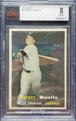 1957 TOPPS # 95 MICKEY MANTLE BVG 8 NM-MT HOF NEW YORK YANKEES MVP not PSA