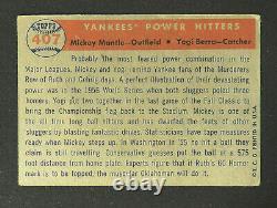 1957 Topps #407 Mickey Mantle & Yogi Berra Yankee Power Hitters Baseball Card