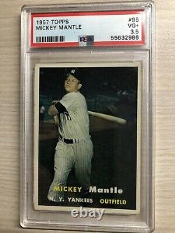 1957 Topps #95 Mickey Mantle HOF PSA 3.5 VG+ GOOD CENTERING