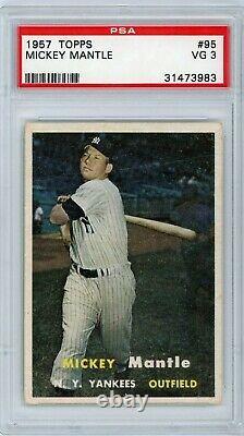 1957 Topps #95 Mickey Mantle Yankees PSA 3 VG HOF