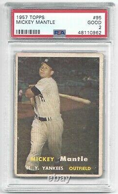 1957 Topps Mickey Mantle Vintage Baseball Card #95 New York Yankees GOOD PSA 2