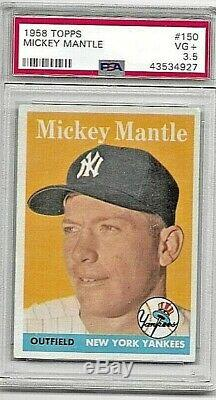 1958 Topps #150 MICKEY MANTLE PSA 3.5 VG+ Nice Centering