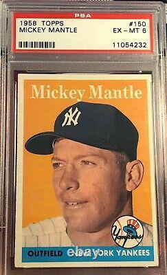 1958 Topps #150 Mickey Mantle New York Yankees HOF PSA 6 EX-MT