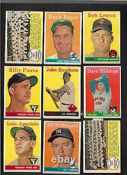 1958 Topps Baseball Complete Set(494)+contest Card- Upper MID Grade 9-sgc Graded