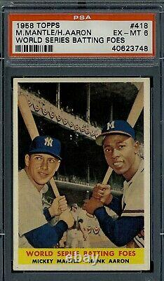 1958 Topps Mantle and Aaron WS Batting Foes PSA 6+++ super high end