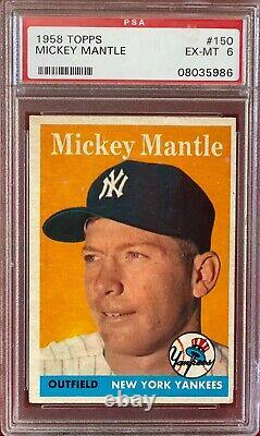 1958 Topps Mickey Mantle #150 & #487 PSA 8 (Exceptionally Sharp Great Color)