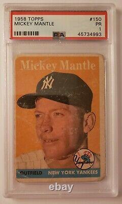 1958 Topps Mickey Mantle #150 New York Yankees PSA 1