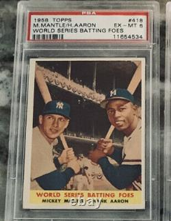 1958 Topps Mickey Mantle & Hank Aaron BATTING FOES #418 PSA 6 EXMT