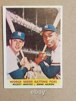 1958 Topps Mickey Mantle Hank Aaron World Series Batting Foes #418 EX Centered