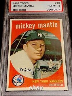 1959 TOPPS Mickey Mantle #10 NM-MINT PSA 8 (Razor Sharp Corners!)