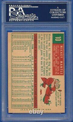 1959 Topps #10 Mickey Mantle New York Yankees HOF PSA 5 EX
