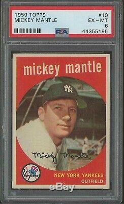 1959 Topps #10 Mickey Mantle PSA 6 HOF New York Yankees CENTERED HIGH END