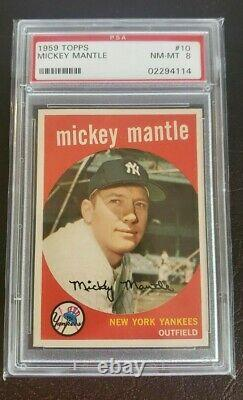 1959 Topps MICKEY MANTLE #10 PSA 8 NM-MT Perfect Centering Great Investment
