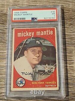 1959 Topps Mickey Mantle #10 Baseball Card New York Yankees PSA 1 Just Graded