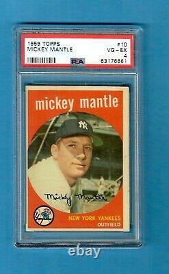 1959 Topps Mickey Mantle #10 Baseball Card PSA 4 Very Good-Excellent Yankees