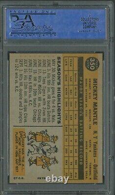 1960 Topps #350 Mickey Mantle New York Yankees HOF PSA 8 SHARP CORNERS