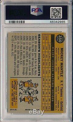 1960 Topps #350 Mickey Mantle Psa 5 Ex (svsc) Freshly Graded! Centered