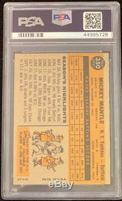 1960 Topps #350 Mickey Mantle Psa 6 Ex-mt++free Shipping