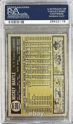 1961 Topps #300 Mickey Mantle Yankees Hof Psa 7