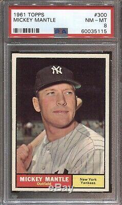 1961 Topps Baseball #300 Mickey Mantle Psa 8 Nm-mint Yankees Centered Hof