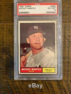 1961 Topps Mickey Mantle #300 Baseball Card. Incredible Color. Beautiful Cond