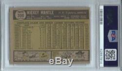 1961 Topps Mickey Mantle #300, Hof, Psa 5 Ex, New York Yankees, L@@k