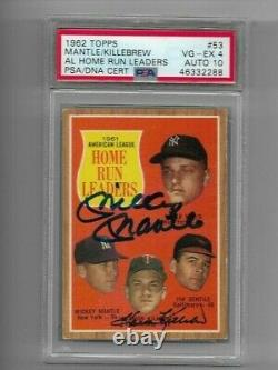 1962 Topps 53 Mickey Mantle Harmon Killebrew Psa/dna Auto 10 Signed Autograph