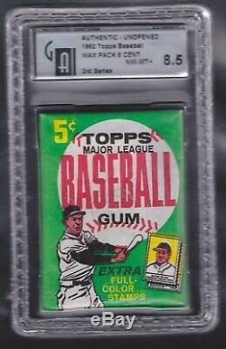 1962 Topps Baseball Wax Pack GAI 8.5 NM-MT+ 3rd Series MICKEY MANTLE series