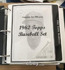 1962 Topps Complete Set (598) w 20 PSA Graded Lou Brock RC PSA 6 Mantle PSA 6