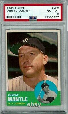 1963 Topps #200 MICKEY MANTLE Psa 8 NM-MT Yankees REALLY NICE