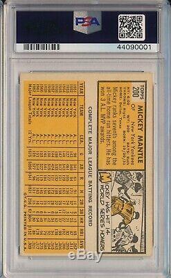 1963 Topps #200 Mickey Mantle Psa 6 Ex-mt (svsc) Freshly Graded