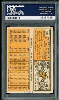 1963 Topps Mickey Mantle #200 HOF New York Yankees PSA 7.5 NM+
