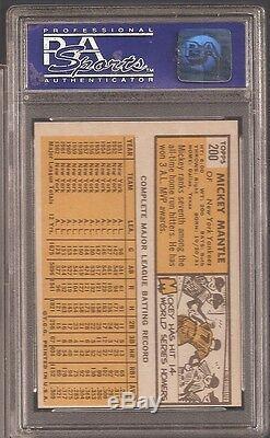 1963 Topps No. 200 Mickey Mantle Psa 8 Near Mint/mint Blazer
