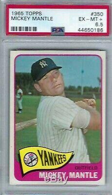 1965 Topps # 350 Mickey Mantle HOF Yankees EX MT + PSA 6.5