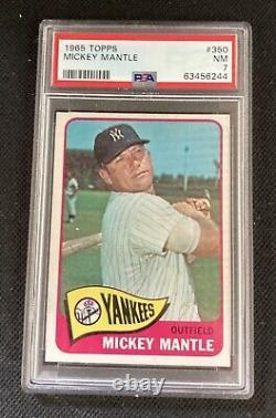 1965 Topps MICKEY MANTLE PSA 7 #350 MVP GREAT Center L/R Yankees GOAT