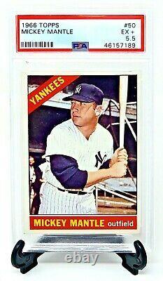 1966 Topps #50 HOF Yankess MICKEY MANTLE Vintage Baseball Card PSA 5.5 EXCELLENT