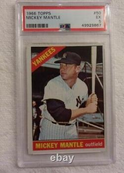 1966 Topps #50 Mickey Mantle (HOF) New York Yankees PSA 5 (EX) (Awesome Card)