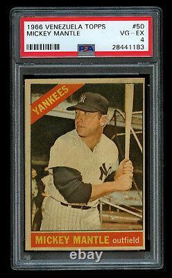 1966 Topps Venezuela Mickey Mantle #50 PSA 4 Low Pop NY Yankees Venezuelan RARE
