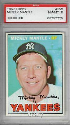 1967 Topps #150 Mickey Mantle PSA 8 Nice Centering