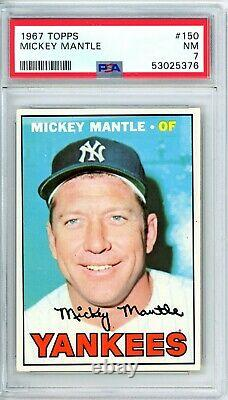 1967 Topps MICKEY MANTLE #150 PSA Grade 7 NM-Cond. @HI-END SHARP CARD