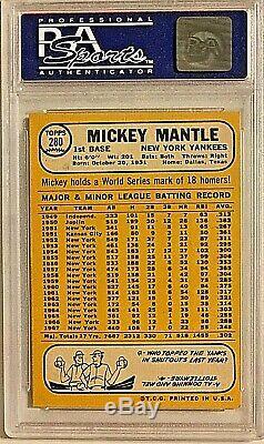1968 Topps #280 Mickey Mantle PSA NM 7 New York Yankees NICE