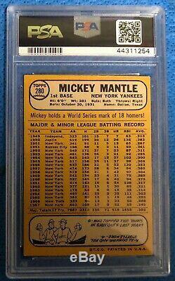 1968 Topps #280 Mickey Mantle Yankees HOF PSA 6 EX-MT