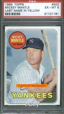 1969 Topps 500 YL Mickey Mantle PSA 6 (1181)