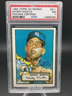 1983 topps 52 #311 mickey mantle hof rc signed psa dna 7 closest to the grail