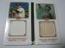 2010 Topps 206 Babe Ruth Mickey Mantle Dual Game Used Worn Jersey & Bat #d 73/99