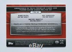 2011 Triple Threads Relic Combos Babe Ruth/Mickey Mantle/Joe DiMaggio JSY/BAT/36