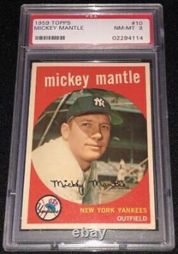 Fresh 1959 TOPPS MICKEY MANTLE (NEW YORK YANKEES) #10 HOF BASEBALL CARD PSA 8