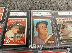 Mickey Mantle 12 card collection 1951 Bowman rookie 1956 Topps PSA SGC BVG